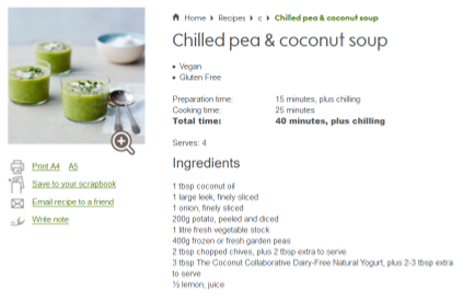 waitrose recipe chilled pea coconut